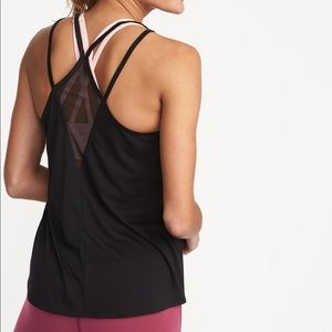 New OLD NAVY active black mesh strappy tank top L